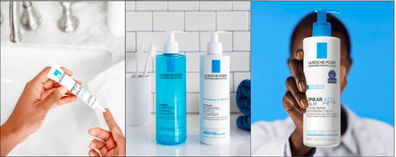 La Roche Posay Effaclar Duo Dual Action Acne Treatment, La Roche Posay Toleriane Purifying Foaming Cleanser, La Roche Posay Lipikar Balm AP+: